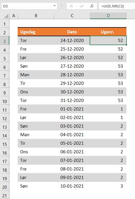 Ugenumre i Excel