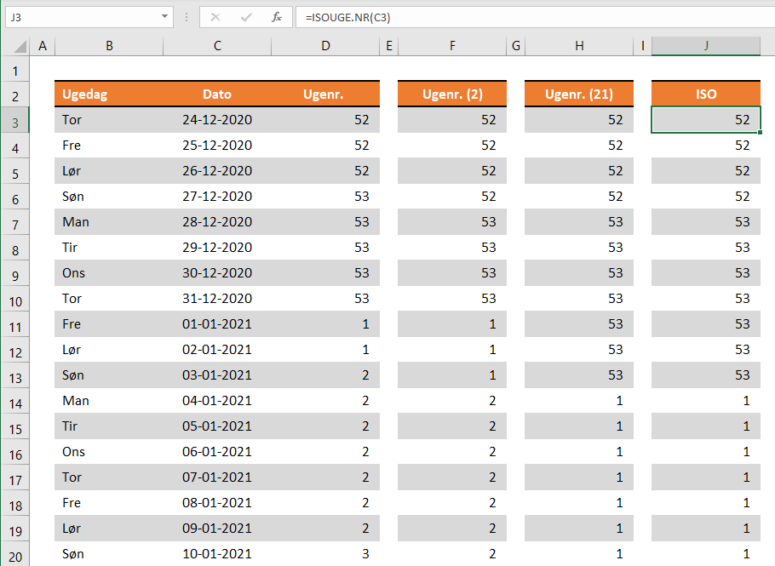 Ugenummer i Excel